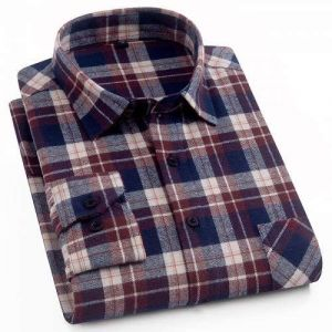100%Cotton Flannel Men′s Plaid Shirt Slim Fit Casual Long-Sleeved Shirts