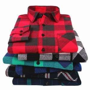 100% Cotton Flannel Men′s Plaid Slim Fit Casual Long Sleeved Shirts