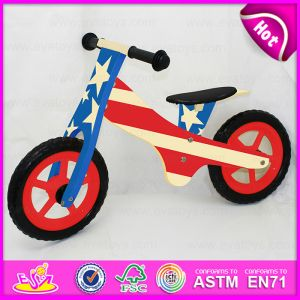 12 Inch Plywood Waterbase Painting Kids Sports Wooden Bicycle, Modern Wooden Walking Kids Balance Bicycle W16c116