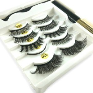 Five Pairs of Mixed 3D Fake Water Mink Magnetic Eyelashes