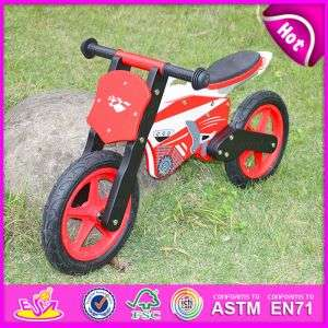 Red Color 2015 Exhibition Item Wooden Toy Bike for Kids, Promotion Gift Wooden Balance Bike, High Quality Children Wooden Bike Toy W16c013