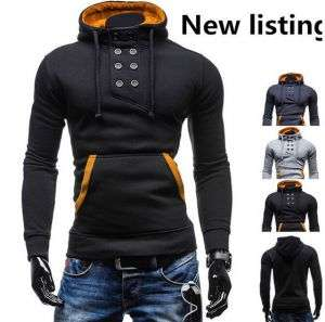 Black Color Latest Men′s High Quality Double-Breasted Hooded Sweater