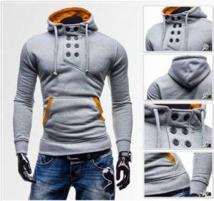 Light Grey Latest Men′s High Quality Double-Breasted Hooded Sweater