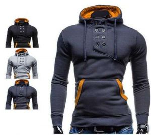 Dark Grey Color Latest Men′s High Quality Double-Breasted Hooded Sweater