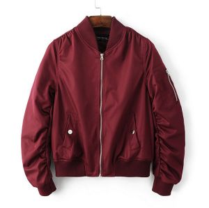 2016 Maroon Color Retail Girl Winter Thick Army Flight Life Military Coats