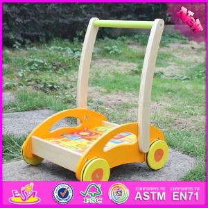 2016 Wholesale Wooden Cheap Baby Walkers, High Quality Wooden Baby Walkers with Building Blocks W16e060
