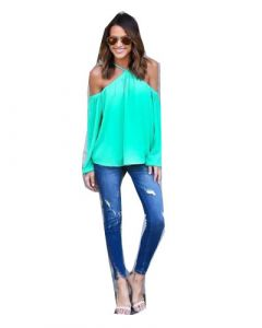 Hot Sale Women Sexy off Shoulder Chiffon  Blue Color T-Shirts (17203)