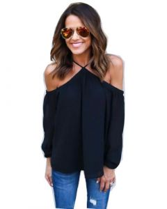 Hot Sale Women Sexy off Shoulder Chiffon Black Color  T-Shirts (17203)
