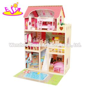 2020 New Released Kids Lighting Wooden Doll House with Garden W06A333e