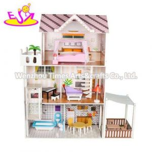 Classic 3 Floors Pink Wooden Loving Family Dollhouse for Girls W06A382