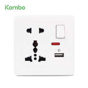 Retardant PC Switched Universal Wall Electrical Outlet with USB Charger .....