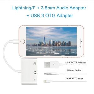 3in1 Dual 3.5mm 8pin Charge Call Audio Splitter Adapter for iPhone 7/7 Plus/8/8plus/X