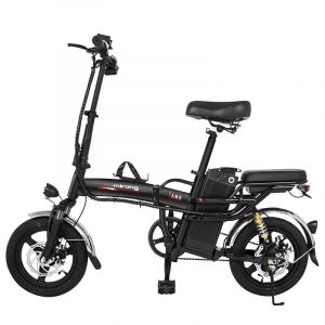 BLACK 48V Lithium Battery Battery Battery Car Folding Electric Car Instead of Small 14 Inch Moped Driving 350W Electric Bicycle