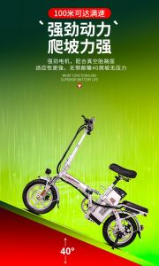 SILVER National Standard 3c Certification Electric Folding Car Ultralight Portable Bicycle Small Lithium Battery Electric Car Electric Bicycle