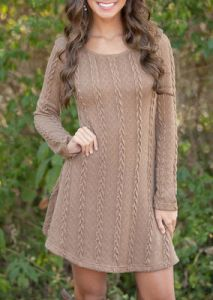 Autumn Winter Women Causal Long Sleeve Short Knitted Sweater Brown Color  Dress