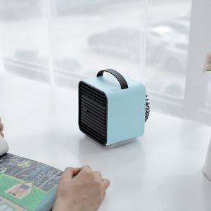 Blue color Portable Wireless Battery Powered Cool Wind Water and Ice Negative Ion Mini Air Conditioner Fan