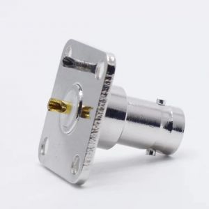 BNC Female 4 Hole Flange PCB Mount RF Coaxial Audio Connector