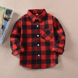 Red Color Children′s Long Sleeve Plaid Fleece Shirt Boy Warm Flannel Shirts