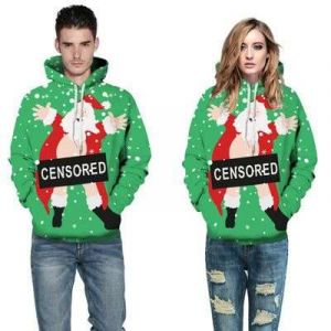 Green Color Couple Christmas 3D Print Loose Casual Pullover Hoodie