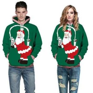 Dark Green Color Couple Christmas 3D Print Loose Casual Pullover Hoodie