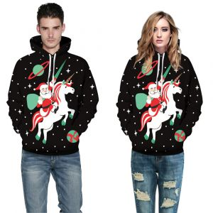 Black Color Couple Christmas 3D Print Loose Casual Pullover Hoodie