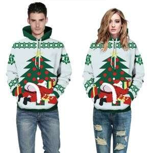 White Color Couple Christmas 3D Print Loose Casual Pullover Hoodie