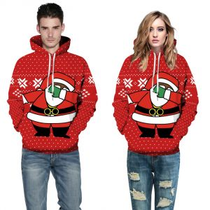 Red Color Couple Christmas 3D Print Loose Casual Pullover Hoodie