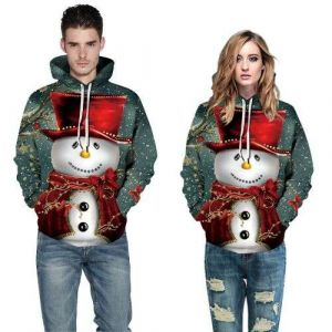 Grey Color Couple Unisex Christmas Snowman Plus Size Casual Hoodie Pullover