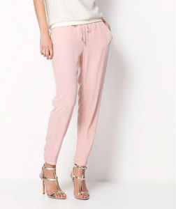 Custom Plain Women Chiffon Harem Baby Pink Trousers (50208)