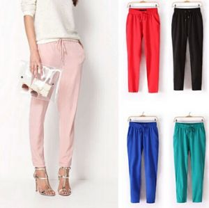 Custom Plain Women Chiffon Harem  Multi Color Trousers (50208)