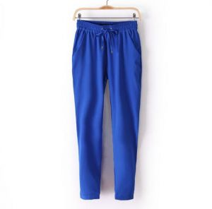 Custom Plain Women Chiffon Harem  Dark Blue Trousers (50208)