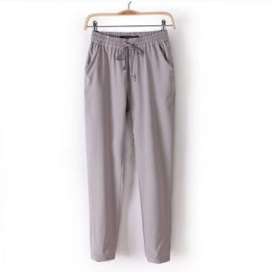 Custom Plain Women Chiffon Harem Grey Color  Trousers (50208)