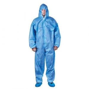 Cx-3 Blue SMS 65GSM Waterproof Hooded PPE Protective Coat Gown