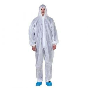 D002 Disposable Non-Woven Hooded Isolation 45GSM Coverall