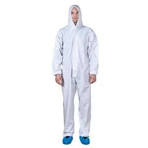 Disposable Protective Clothing Waterproof Hooded Coverall with SMS Back