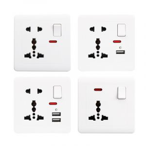 Switched Universal Wall Electrical Outlet Socket with USB Charger 23