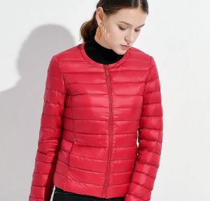 Red Color Duck Down Jacket Women′s Short Liner Inner Wear Collarless Jacket