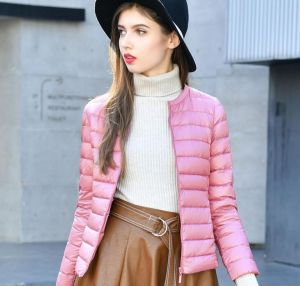 Pink Color Duck Down Jacket Women′s Short Liner Inner Wear Collarless Jacket