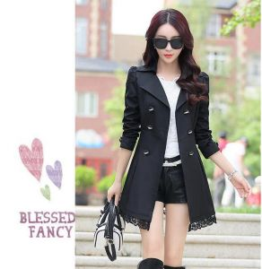 Black Color Elegant Winter Stylish Ladies Belted Khaki Women Trench Coat