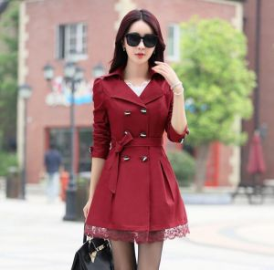 Red Color Elegant Winter Stylish Ladies Belted Khaki Women Trench Coat