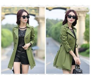 Green Color Elegant Winter Stylish Ladies Belted Khaki Women Trench Coat