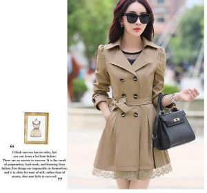 Beige Color Elegant Winter Stylish Ladies Belted Khaki Women Trench Coat
