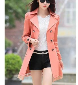 Light Orange Color Elegant Winter Stylish Ladies Belted Khaki Women Trench Coat