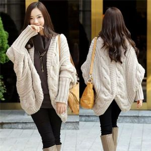 Beige Color Fashion Style Plus Size Bat Sleeve Knitted Wool Cardigan (66180)
