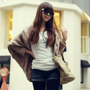 Brown Color Fashion Style Plus Size Bat Sleeve Knitted Wool Cardigan (66180)