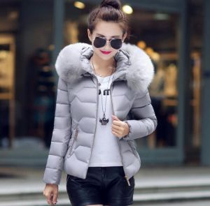 Grey Color Fashion Women Winter Outwear Hooded Cotton Jacket