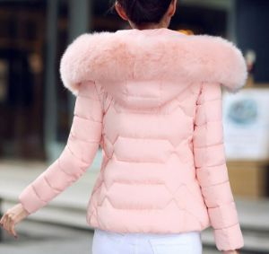 Pink Color Fashion Women Winter Outwear Hooded Cotton Jacket