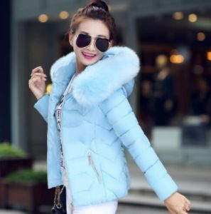 Sky Blue Color Fashion Women Winter Outwear Hooded Cotton Jacket