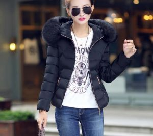 Black Color Fashion Women Winter Outwear Hooded Cotton Jacket