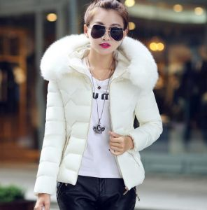White Color Fashion Women Winter Outwear Hooded Cotton Jacket